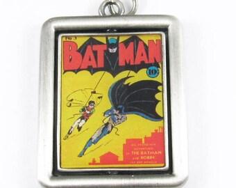 DC Comics Originals Silver Double Sided Metal Spinner Pendant- Batman (1 Piece)