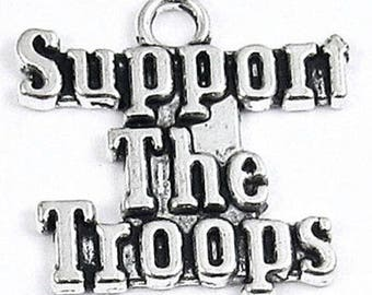 Silver Metal Military Charms-SUPPORT THE TROOPS 22mm (10 Pieces)