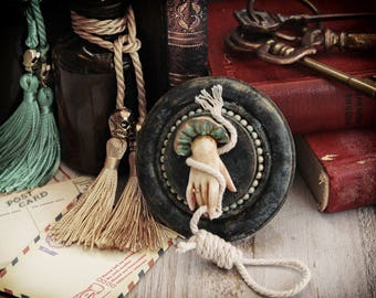 Wall Decor-Frame Oddities- Weird Artwork Cabinet of Curiosities- Hand and Rope