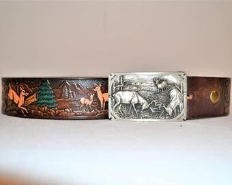 Vintage Deer Belt & Siskiyou Buckle