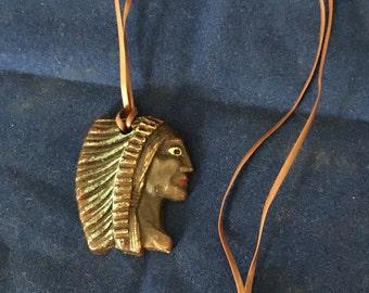 Native American chief head pendant