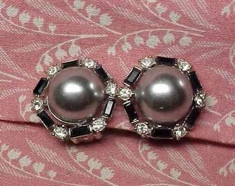 Vintage Nini Ricci Grey Dome Black and Clear Rhinestone Silver tone Clip on Earrings