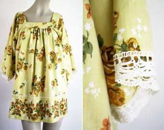 Handmade Recycled Upcycled Hippie Woman's Yellow Floral Blouse Made from Vintage Retro Bed Sheets Free Size OS