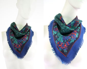 Vintage Blue Green and Red Lightweight Classic Chic Woman's Retro Square Scarf