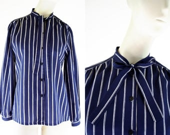 Navy and White Stripe Vintage Woman's Polyester Long Sleeve Button Down Retro Tie Neck Blouse