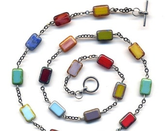 SALE Multi Color Unique Czech Beads Necklace in Gun Metal Chain Version, handmade jewelry by AnnaArt72