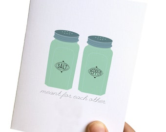 retro love card, love card, i love you card, cards for him, cards for her, salt and pepper card