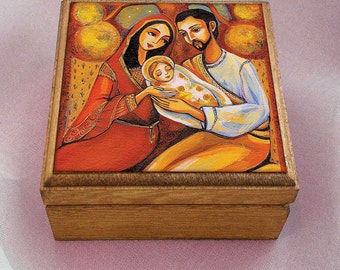 Nativity Holy Family box, Nativity box, Virgin Mary and Jesus mother and son tree of life, christian box, jewelry box, 3.5x3.5+