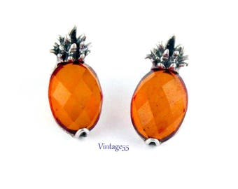 Earrings Pineapple Amber and Sterling Pierced Post