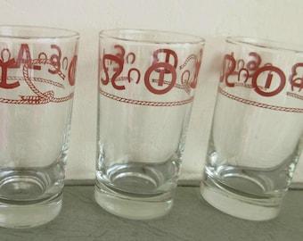 Vintage Glasses, Libbey Glasses, Western Brands, Vintage Glass Tumblers, Westward Ho, Vintage Cowboy Glass Midcentury Glassware  Barware