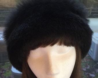 Rich Black Rabbit FAUX FUR HAT, Pillbox Style Hat, Women's Winter Fur Hat, Black Fur Hat