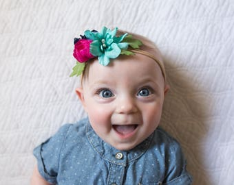 Headbands for Baby Girls - Pink and Blue - Baby Headband - Flower