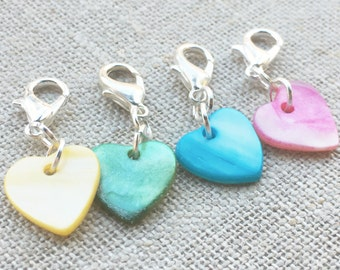 Set of 4 Heart Knitting Markers- Valentine's Day Stitch Markers- Heart Crochet Markers-  Knitting Stitch Markers- Lightweight Stitch Markers
