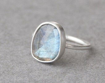 Labradorite Ring in Sterling Silver, Gemstone Ring, Solitaire Ring, Brushed Matte Finish, One of a Kind Silver Ring