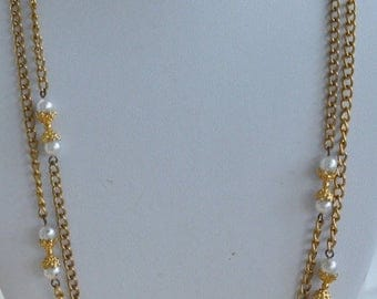 On sale Pretty Vintage Faux Pearl, Gold tone Necklace, 56""