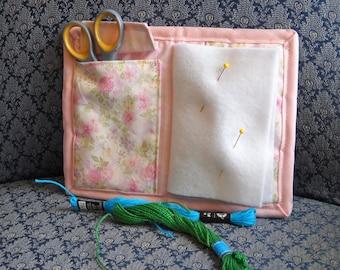 Rose Trellis Needle Book, Needle Case, Hand Sewing Organizer