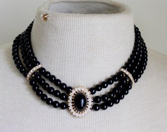 Black Rhinestone Statement Necklace Vintage
