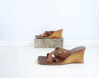 sale 90s Wedge Sandal Brown Leather Slide Brown Leather Mule Size 10 Brown Sandal Brown Wedge Sandal 1990s Slip on Sandal Boho Brown Sandal