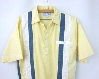 Men's Beach resort Shirt Retro Pullover Collar Tee Pale Yellow & Blue Stripe Top Casual Joe Haband Vintage Mens Size Medium