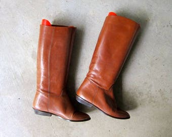 Tall Leather 90s Boots Vintage CALF HIGH Boots Supple Brown Leather BOHO Boots Slouchy Equestrian Boots Hippie Hipster Womens size 6.5
