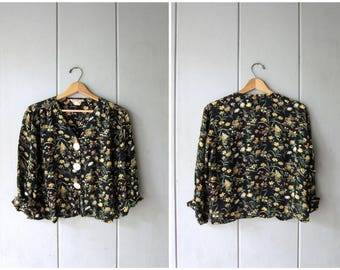Cropped Rayon Blouse Button Up Black Floral Blouse Long Sleeve Boho Top Semi Sheer Button Up Blouse Grunge 90s Revival SHirt Womens Small