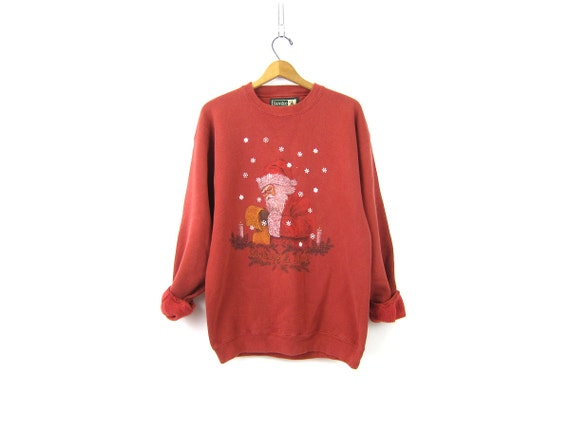 Washed out Red Christmas sweatshirt Oversized Cotton vintage Xmas sweater Ugly Party sweater Santa Claus Novelty Sweater Large