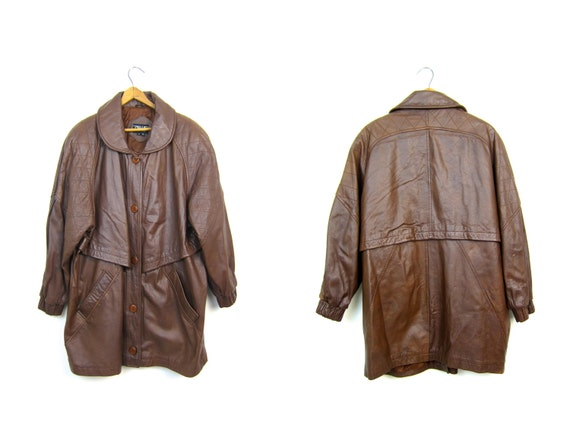 Vintage Brown Leather Coat Slouchy Long Trench Coat 90s Oversized Quilted Leather PARKA Jacket Button Up Coat Womens Medium Large