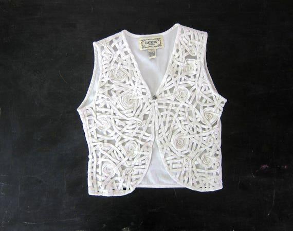 White Cut Out Vest Cotton Button Up Vest 90s Sleeveless See Through Tank Minimal Denim Spring Vest Vintage Womens Small Medium