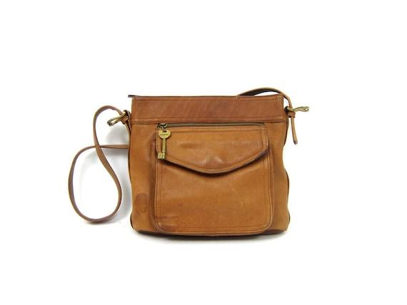 Brown Leather Fossil Purse  Boho Bag Cross Body Shoulder Bag 90s Bohemian Pocket Purse Bag 90s Vintage Womens Purse