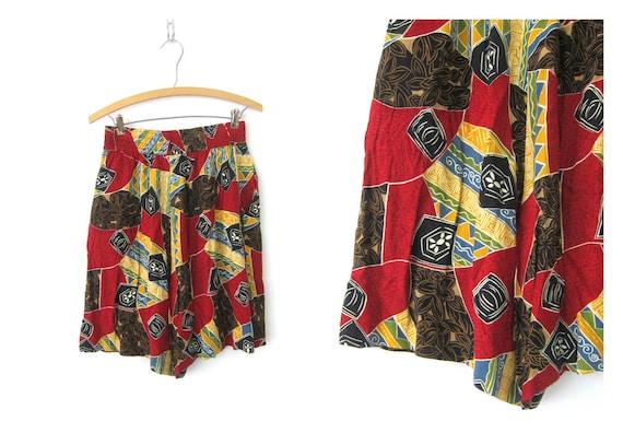 vintage women's shorts Wide Leg Rayon Shorts Long Abstract Print Pattern Shorts High Waist Elastic Shorts Women's Size 8 Medium