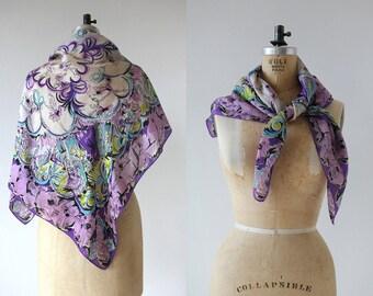 vintage 1950s scarf / 50s silk scarf / 1950s novelty print scarf / 50s ballerina print scarf / 50s purple silk scarf / 50s dancer scarf