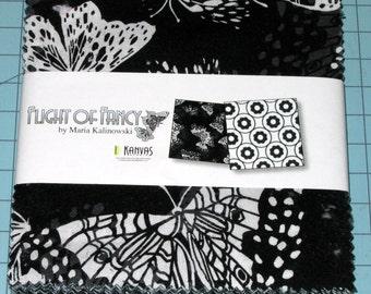 "Benartex - Flight of Fancy Black & White - (42) 5""  Precut Fabric Squares"