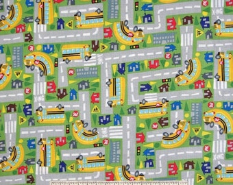 Kids Fabric - School Bus Town Map Green C1427 - Timeless Treasures YARD
