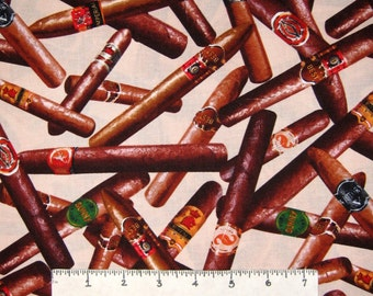 Man Cave Fabric - Tobacco Cigar Toss on Cream - Benartex Kanvas YARD