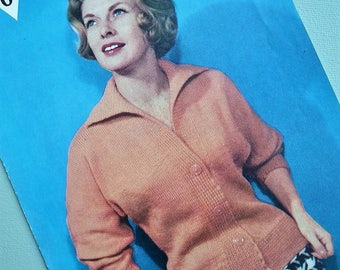 Vintage 1950s Knitting Pattern Women's Cardigan with collar 50s original pattern Bestway No. 3435 UK