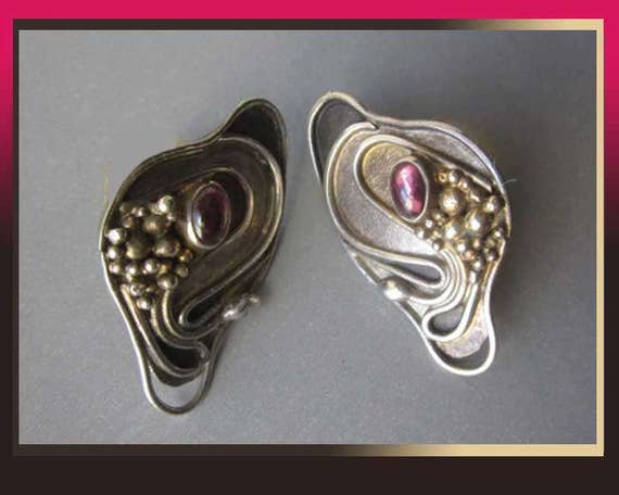 Delicate DELIGHTS, Sterling/Gold Wash Modernist Earrings, Flowing Nouveau Design, Ruby or Garnet Gemstones,Baruch K,Vintage Jewelry,Women