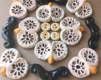 SALE - Lot of Buttons - Handmade Ceramic Buttons - Owls