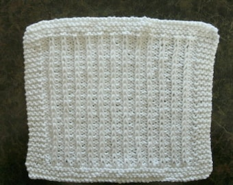 White Hand Knit Dishcloth - measures approximately 8x9 inches