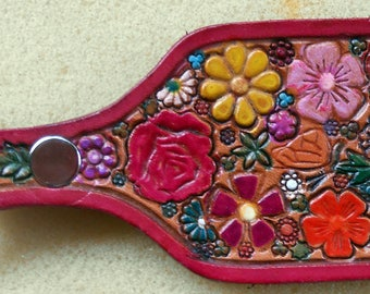 Leather Flower Garden Key Fob with Red Border  Made in GA USA  OOAK