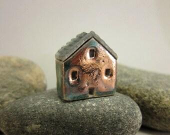 Raku House Bead/Pendant...Copper