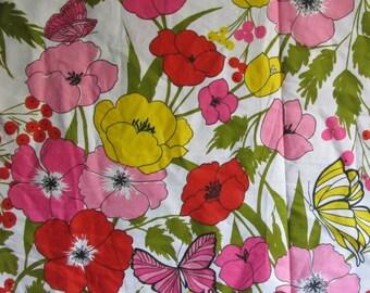 FAB Vintage Waverly Fabric Papillon Floral Butterflies 2.5 yards plus