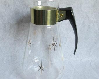 Vintage Pyrex Corning Glass Coffee Tea Carafe Starbursts