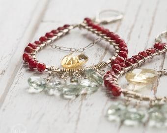 Coral, Citrine, Green Amethyst earrings