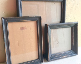 Set of Dark Gray Farmhouse Style Distressed Painted Wood Picture Frames 8x10 5x7 5x5 Square
