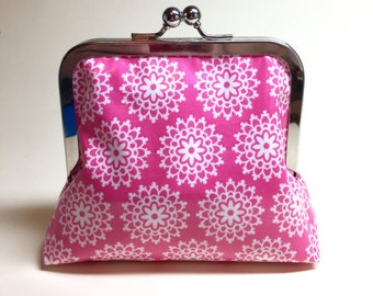 Pink Lace Floral Clutch Purse - Small - Laminated Cotton