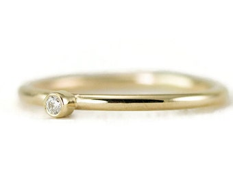 Diamond Ring in 14k Gold -  2mm Diamond on 1.3mm Band - Yellow, White or Rose Gold