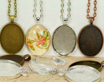 10 DIY 22 x 30 Pendant Kits, Make 22 x 30 Oval Pendant Trays with Glass and Chain, Pick your choice of chain and colors