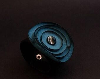 40% OFF SALE Blue flower leather bracelet Cuff Statement jewelry Wide wristband