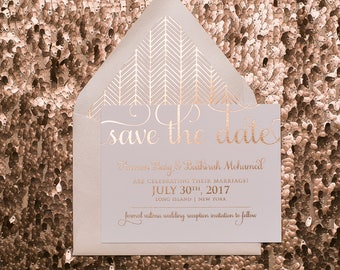 Foil - Rose Gold Cutie Save the Date - SAMPLE (ADELE)