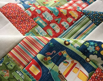Road Trip by Riley Blake - Unfinished baby sized quilt top - 38 x 38 in / ready to quilt / gender neutral / vintage style / camping / DIY